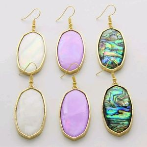 independent Jewelry - Abalone gold framed dangle earrings